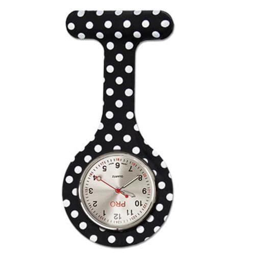 Silicone Lapel Watch - Black Polka Dot