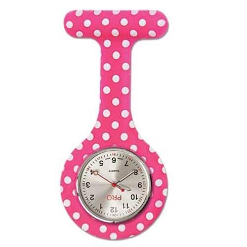 Silicone Lapel Watch - Pink Polka Dot