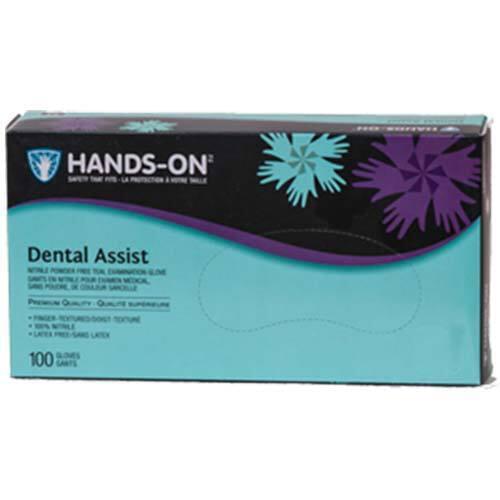 Hands-On Dental Assist Nitrile Powder Free Teal Exam Gloves Large