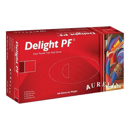 Aurelia® Delight PF Vinyl Powder Free Clear Exam Gloves Small