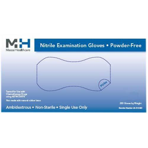 Medical Nitrile Powder Free Light Blue Exam Gloves Large 200/Box