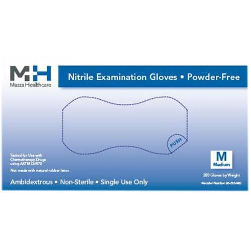 Medical Nitrile Powder Free Light Blue Exam Gloves Medium 200/Box
