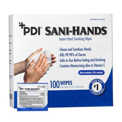 <p>An ideal hand hygiene solution for staff, visitors, patients, or residents who cannot get out of bed to clean their hands.</p> <p><strong>Details</strong></p> <ul> <li>Box contains 100 individually wrapped wipes</li> <li>Allows staff to wash their hands on-the-go and easily provide hand hygiene to patients, as needed</li> <li>70% ethyl alcohol</li> <li>Contains soothing Aloe and Vitamin E to moisturize the skin</li> <li>Clinically proven to kill 99.99% of germs</li> <li>Safe to use before eating and drinking</li> <li>Latex-free</li> <li>Meets OSHA Bloodborne Pathogen Standard 29 CFR Part 1910.1030 (d)(2)(iv)</li> </ul>