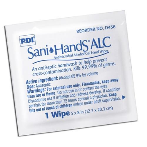 "<ul> <li>Antiseptic hand wipe</li> <li>Kills 99.99% of germs</li> <li>Contains a moisturizer to soothe the skin</li> <li>5"" x 8"" (12.7 cm x 20.3 cm)</li> <li>Alcohol 65.9% by volume</li> </ul>"