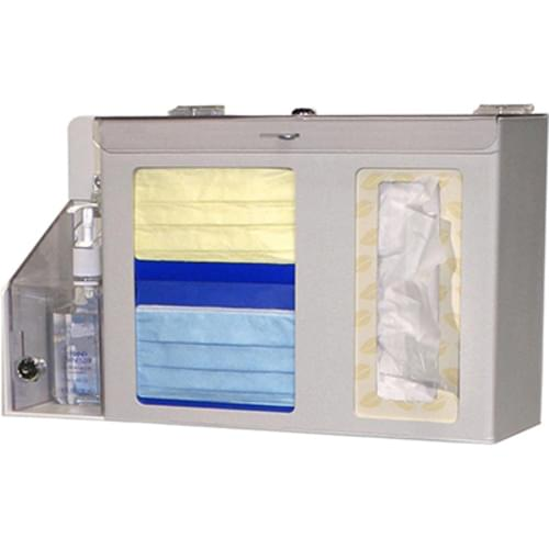 <p><strong>Bowman Locking Respiratory Hygiene/Flu Station</strong></p> <ul> <li>Locking respiratory hygiene/flu station </li> <li> Holds two boxes of face masks, two thin boxes or one large box of tissues with locking lid and locking adjustable lid to secure hand sanitizer bottle </li> <li> Keyholes for wall mounting or sits on the counter </li> <li> Quartz ABS plastic and clear PETG plastic</li> <li> Optional kiosk stand MD-765 or MB-200 sold separately</li> <li> Optional sign holders MP-070 or MP-075 sold separately</li> </ul> <p><strong>Inside Dimensions:</strong> </p> <ul> <li>17½'' W x 10'' H x 5'' D</li> </ul> <p><strong>Outside Dimensions:</strong> </p> <ul> <li>22.25'' W x 30.75'' H x 4.00'' D</li> </ul>