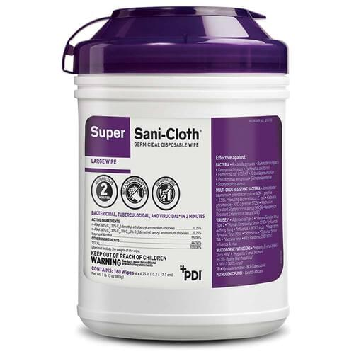 Super Sani-Cloth Germicidal Large Wipes 160/Canister