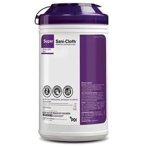 Super Sani-Cloth Germicidal Extra Large Wipes 65/Canister