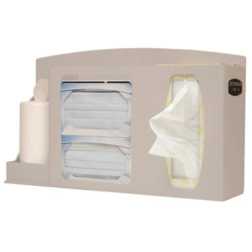 "<p><strong>Details</strong></p> <ul> <li>Holds two boxes of face masks, two thin boxes or one large box of tissues with an adjustable lid to secure hand sanitizer bottle</li> <li>Keyholes for wall mounting or sits on the counter</li> <li>Optional kiosk stand MB-200 sold separately</li> <li>Optional sign holder MP-070 sold separately</li> <li>Quartz ABS plastic and clear PETG plastic</li> </ul> <p><strong>Inside Dimensions:</strong> 17½"" x 10"" x 5""</p>"