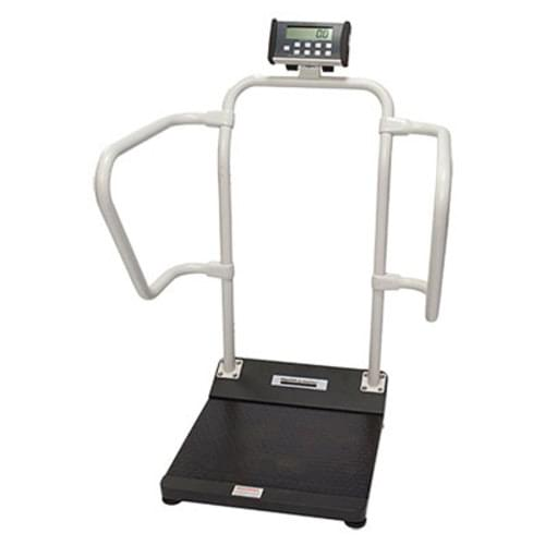 "<p>A comprehensive platform scale that supports up to 1000 pounds and offers ""live"" handrails and a low profile platform to provide a stable and comfortable weighing experience for patients of any size. Ideal for any type of facility including primary care, rehab or hospital. </p> <p><strong>Features</strong></p> <ul> <li>EMR Connectivity <ul> <li>Has the ability to interface with a computer, EMR software or other electronic devices via various Health O Meter Professional Connectivity Solutions</li> </ul> </li> <li>""Live"" Handrails <ul> <li>Advanced technology allows the patient to hold on handrails for stability while scale accurately calculates weight</li> </ul> </li> <li>Low Profile Platform <ul> <li>Low platform height requires only minimal step up, offering patients a comfortable and stable weighing experience</li> </ul> </li> <li>Calculates Body Mass Index (BMI) <ul> <li>Scale functions include the ability to calculate the patient's BMI</li> </ul> </li> <li>180<strong>° </strong>Swivel Display <ul> <li>The display head has the ability to pivot for the convenience of the caregiver, allowing line-of-sight viewing and information privacy</li> </ul> </li> <li>On-Screen Help Menu <ul> <li>Guides users through operating functions and provides easy access to multiple settings </li> </ul> </li> <li>Interactive Display <ul> <li>High-contrast color screen provides a user-friendly interface</li> </ul> </li> <li>Value-Added Features <ul> <li>Operating functions (LB/KG Conversion, LB/KG Conversion, LB/KG LockOut, BMI, Zero, Tare, Pre-Tare, Hold/Release, Reweigh, Recall, Auto Zero, Auto Off, Time/Date, Variable Auto Off Time, Audible/Mute Sound Option) included</li> </ul> </li> <li>Everlock (patent pending) <ul> <li>Option that allows users to permanently lock the scale in either LB or KG to improve safety</li> </ul> </li> </ul> <p><strong>Specifications</strong></p> <ul> <li>Capacity: 1000 lb / 454 kg</li> <li>Resolution: 0.2 lb / 0.1 kg</li> <li>Platform Size (W x D x H): 22"" x 15 3/4"" x 2 1/2"" / 559mm x 400mm x 64mm </li> <li>Product Footprint: (W x D x H): 31 1/4"" x 27 1/4"" x 49 3/4"" / 794mm x 692mm x 1264mm</li> <li>Product Weight: 52 lb / 23 kg</li> <li>Display: 1 ½"" / 38 mm High-Contrast Color TFT-LCD Screen</li> <li>Wheels: 2</li> <li>Power Source: 100-240V adapter included, 6 D batteries (not included)</li> <li>Connectivity: USB, optional Pelstar wireless technology</li> <li>Warranty: 2 Year Limited Warranty</li> </ul>"
