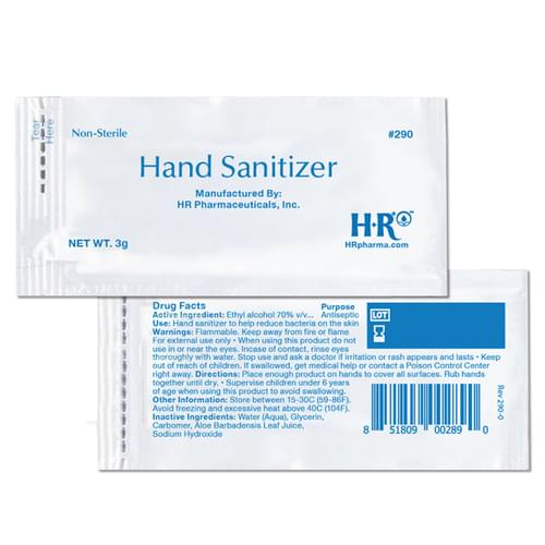 Hand Sanitizer 3g Packet 70% Alcohol 1728 Packs per case