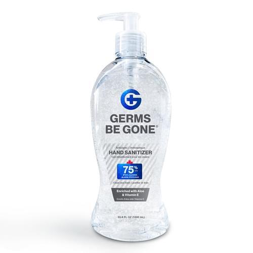 Germs Be Gone Hand Sanitizer Gel Pump 1000 mL 75% v/v Ethyl Alcohol with Aloe & Vitamin E