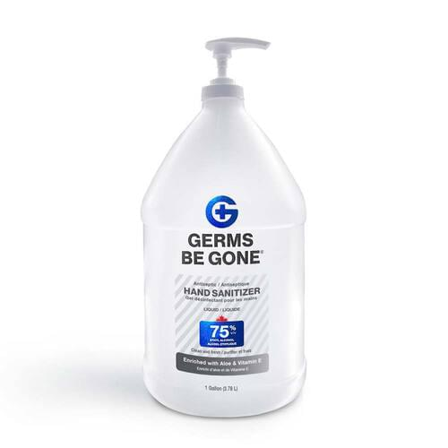 Germs Be Gone Hand Sanitizer Gel Pump 3.78 L 75% v/v Ethyl Alcohol with Aloe & Vitamin E