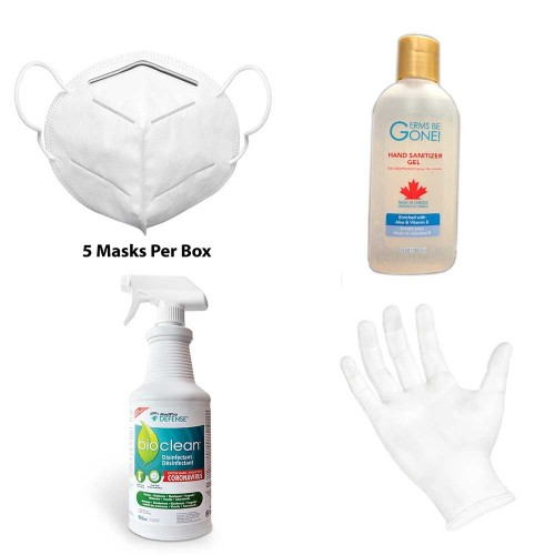 Wellness Kit #1 - 1 Box of K95 Masks, 1 148 mL Bottle of Hand Sanitizer, 1 Bioclean Spray, and 1 Box Medium Vinyl Gloves