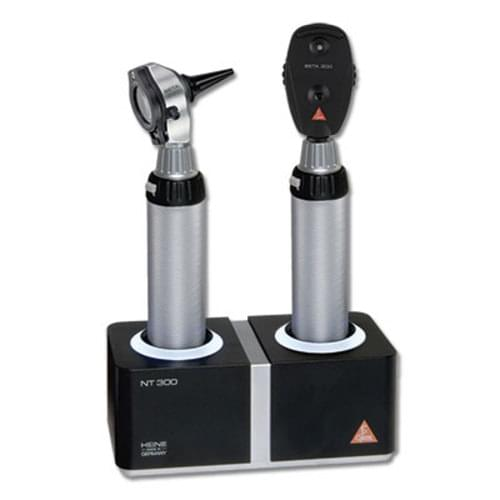 <p> <b>Diagnostic Set Contains:</b> <ul> <li>BETA 200 Ophthalmoscope</li> <li>BETA 200 Fibre Optic Otoscope <li>BETA R 3.5 V rechargeable handle</li> <li>1 set of reusable tips and 10 disposable tips in case</li> </ul> <b>BETA 200 Ophthalmoscope Features:</b> <ul> <li>Lifetime dustproof guarantee <li>Aspherical optical system eliminates corneal reflex <li>6 aperture settings (slit, fixation star, cobalt blue, large spot, small spot, hemi spot) <li>Red free filter</li> </ul> <b>BETA 200 Otoscope Features:</b> <ul> <li>Durable all-metal housing <li>Homogeneous, reflex-free illumination <li>Large scratch resistant viewing window with 3x magnification <li>Viewing window swivels for use of instruments </ul> <b>NT 300 Well Charger Features:</b> <ul> <li>Innovative, compact design</b> <li>Two independent charging compartments: Complete functionality for one or two handles at a time <li>Fast charge feature <li>Automatic charging guarantees extended battery life <li>Charge status display