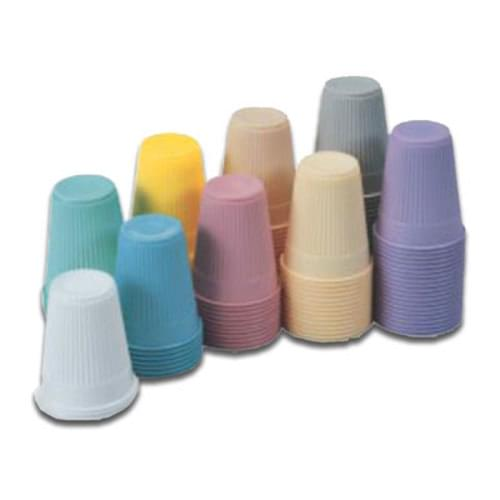 "Plastic Cups 5 fl. oz. (148 mL)<BR> <BR> Increased strength due to double coating with a built in grip control outer wall design.<BR> <BR> Better lip control and ease of use with special ""rolled lip"" design for high comfort.<BR> <BR> Economic value without compromised quality.<BR> <BR> <BR> Offered in great pastel colors that coordinate with our Dry-Back Dental Bibs. <BR> <BR> <strong>***LATEX-FREE***</strong><BR>"