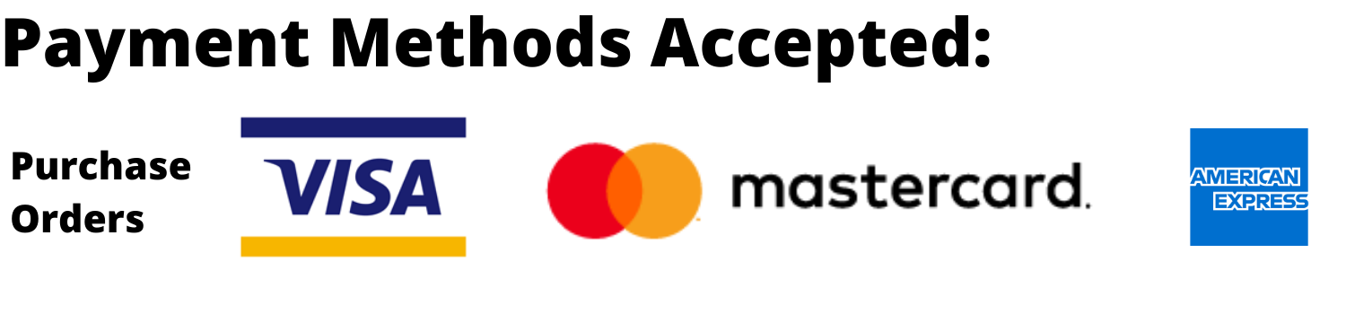 Payment Methods - Visa MasterCard American Express and Purchase Orders
