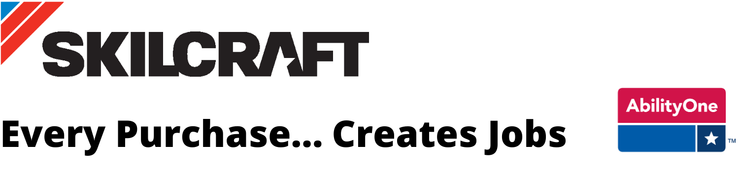 Skilcraft and AbilityOne Logos with text:  Every Purchase Creates Jobs