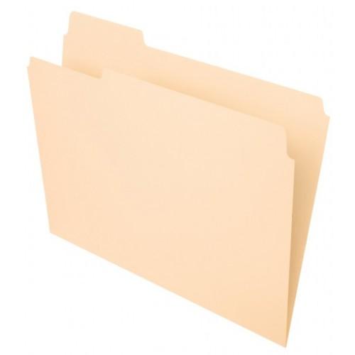 File Folder, 1-ply tab, 1/3 Cut Assorted Top Tab, Letter, 11 pt. Manila,100/Box
