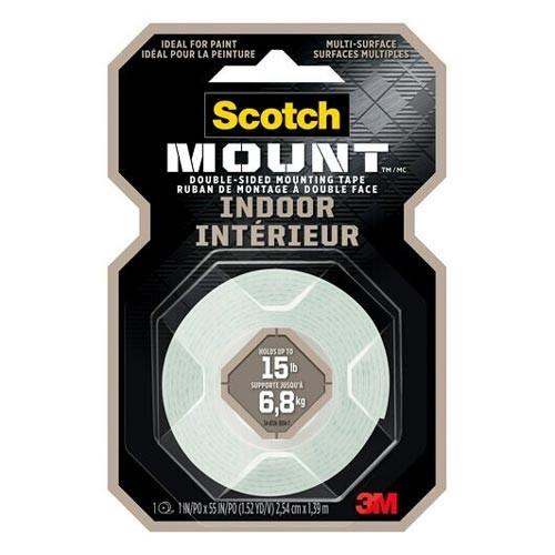 "Scotch Mounting Tape - 55"" (1.5 m) Length x 1"" (25.4 mm) Width - Foam - 1 / Roll - Clear"