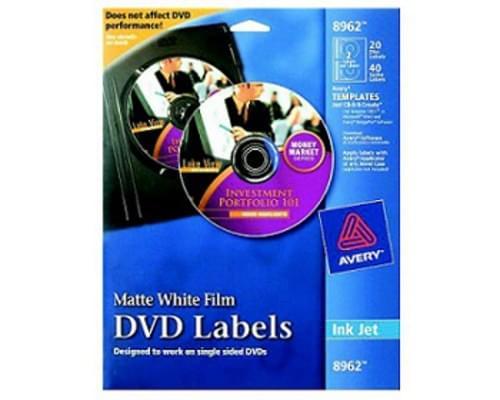 DVD Film Label, Ink Jet, White Matte, 20 DVD Labels, 40 Jewelcase Spine Labels