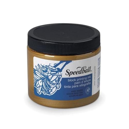 SPEEDBALL WATER-SOLUBLE BLOCK PRINTING INK 1LB, GOLD