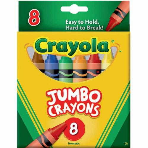 CRAYOLA JUMBO CRAYONS ASSORTED COLOURS, 8 PACK