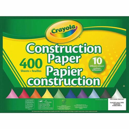 """Crayola Construction Paper - 9"""" x 12"""" - 400 Sheets - 10 Colours"""