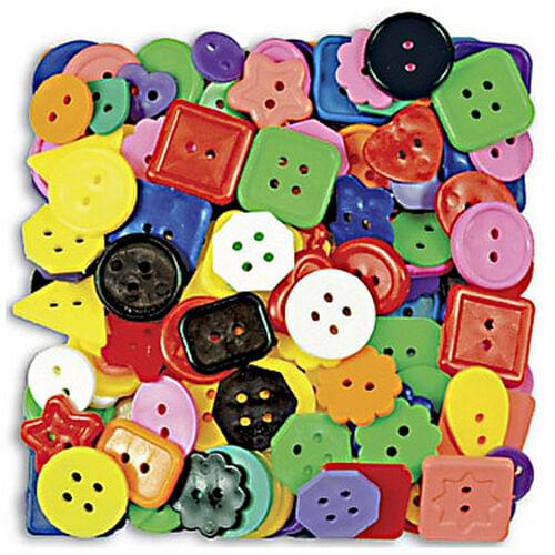 LARGE PLASTIC BUTTONS ASSORTED COLOURS, 300 G PACK