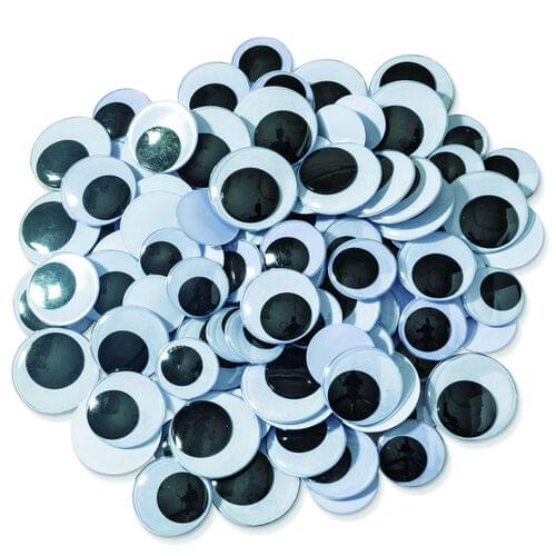 ROUND WIGGLY EYES 20 MM, 100 PACK