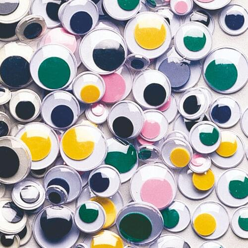 ROUND COLOURED WIGGLE EYES ASSORTED SIZES, 100 PACK