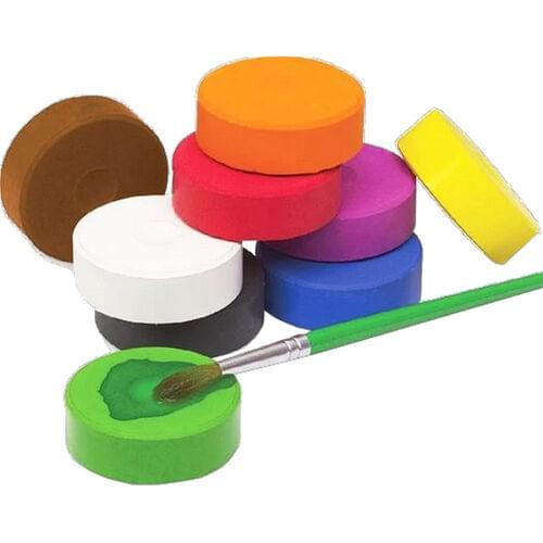 TEMPERA PAINT BLOCKS 6 PACK, ASSORTED COLOURS