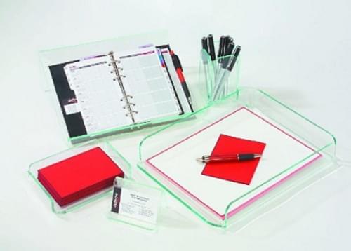 Glasstique 5-Piece Sets(Desk Tray/Memo Holder/Pencil Cup/Planner Stand/Business