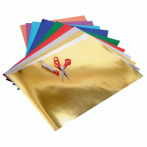 METALLIC FOIL BOARD ASSORTED COLOURS, 10 PACK