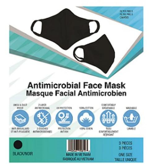 Antimicrobial Face Mask, 3 pack, Black