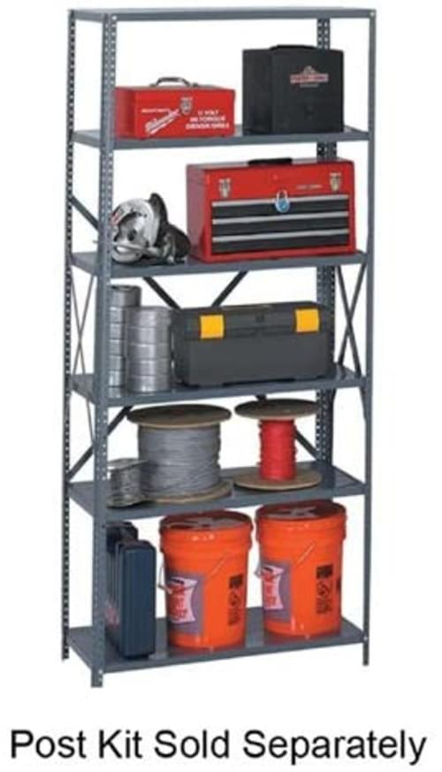 """Safco Industrial Steel Shelving for 85"""" High Posts, 36w x 24d, Dark Gray, 6 / carton"""