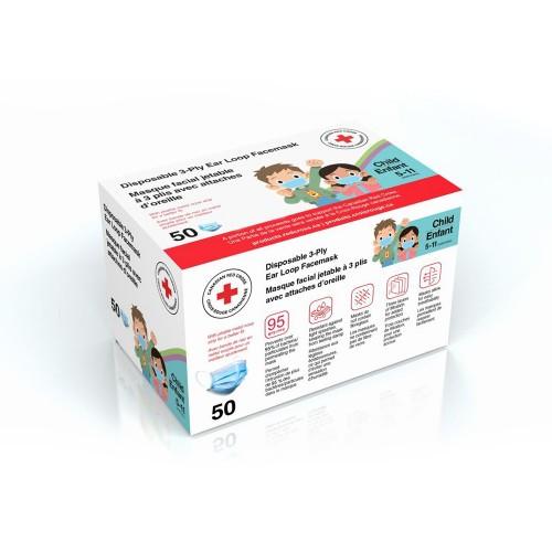 Canadian Red Cross Type II Pediatric Ear Loop Disposable Medical Face Mask, 50/Box