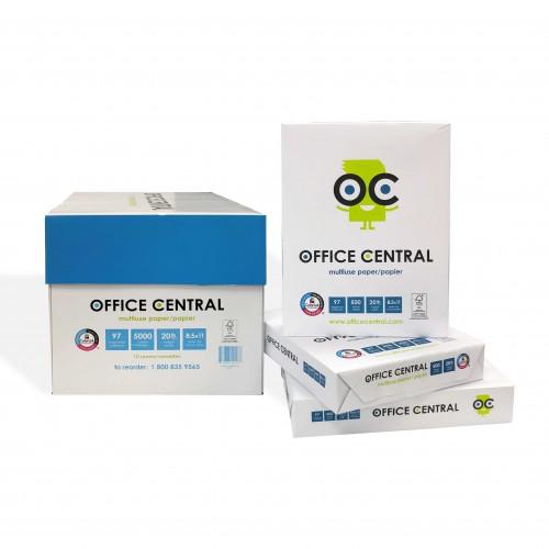 "Office Central Multipurpose FSC-Certified Copy Paper 8.5"" x 11"", 20lb 97 Bright White 5,000 sheets/carton"