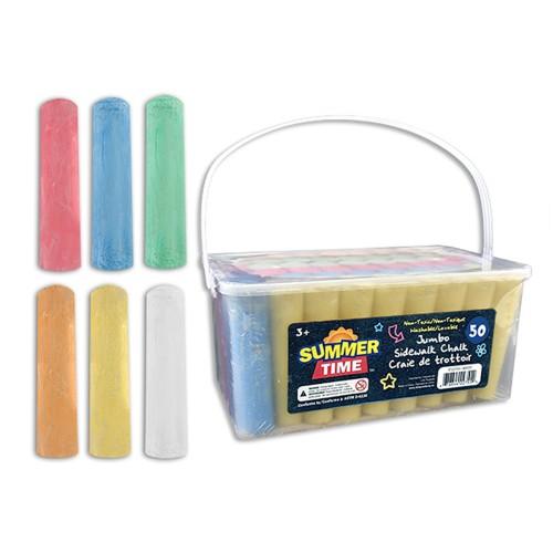 Jumbo Sidewalk Chalk Assorted Colours - 50 Pack